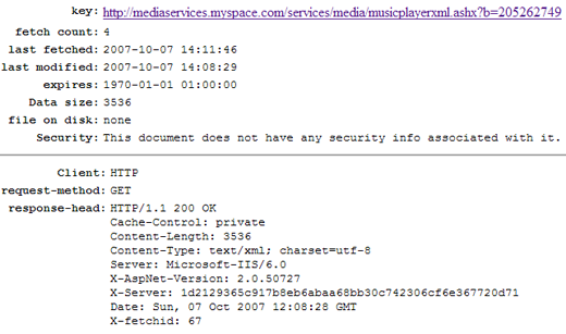 Image information lien cache musicplayerxml